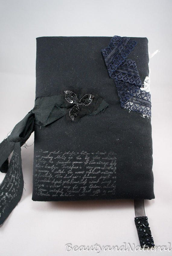 Handmade Black Notebook Journal In Victorian Gothic And
