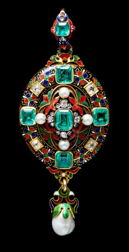 A Fine Renaissance Revival Yellow Gold, Polychrome Enamel, Emerald, Diamond and Natural Pearl Pendant, Circa 1870.