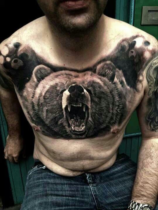 Bear chest tattoo tattoos pinterest bears tattoos for Bear chest tattoo