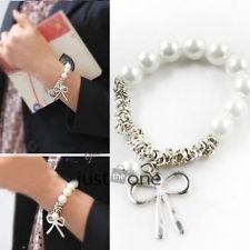 Fashion Cute Bowknot Women Ladies Girls Imitation Pearl Bangle Bracelet White