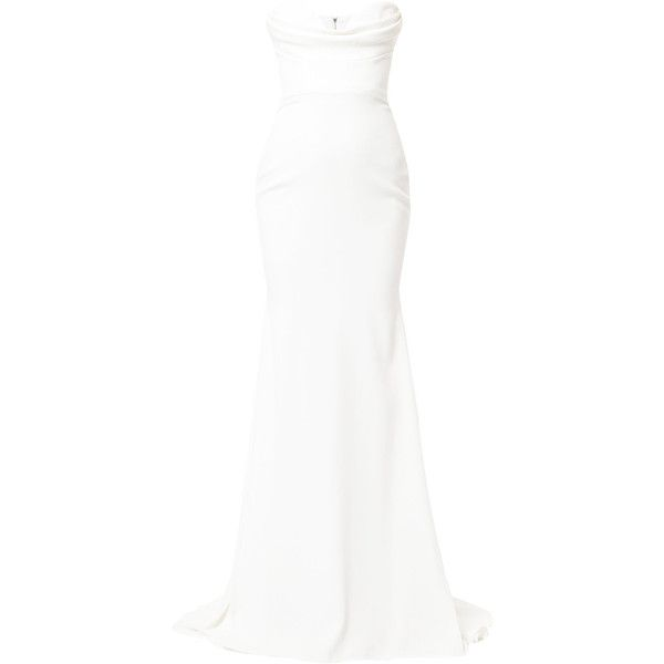 Alex Perry Sloane gown (34,525 MXN) ❤ liked on Polyvore featuring dresses, gowns, white, alex perry, white gown, white ball gowns, white evening gowns and white colour dress