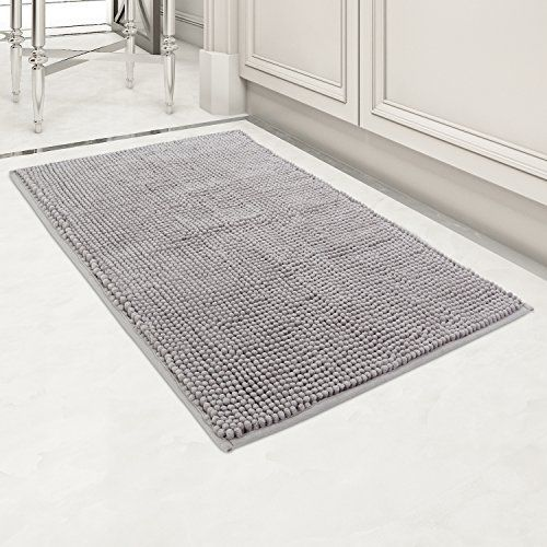 "Norcho 32""x20"" Indoor Doormat Absorb Mud Non Slip Rubber Backing Door Mat For Front Door Entrance Rugs Machine Washable Mats Grey - Specification: Color: Grey Surface Material: soft microfiber chenille Back MaterialL: PVC anti-slip rubber Bath Rug Size: 20 inch x 32 inch (LxW) Note: Due to the differences in computer monitors, actual products may have a slight color difference with the picture; For the different manual measur..."