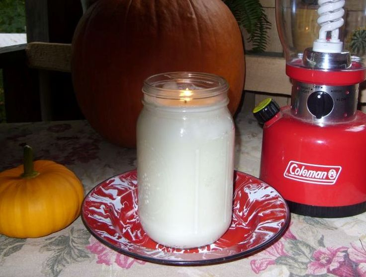 crisco candle.  it burns for 100+ Hours,one of the reasons I Love this idea is because of the strength of the canning jar...no worries about cracking,they do not burn black at all, very clean and noooo smell,I have tested mine it burns slow and cool...actually better and cooler than purchased candles. ...Cost.....$1.50 YAY!!