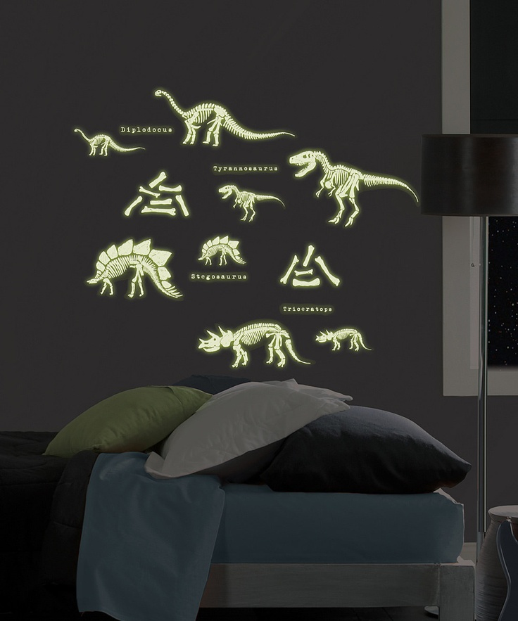 Glow-in-the-Dark Dinosaurs Wall Decal Set #zulily #kids #holiday #giftideas
