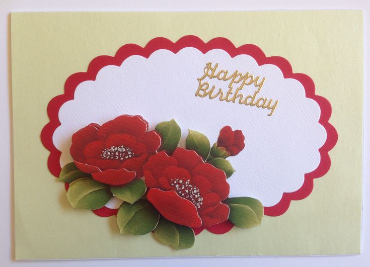 Handmade birthday card using 3D sheet, scallop oval die cuts and peel off sticker.