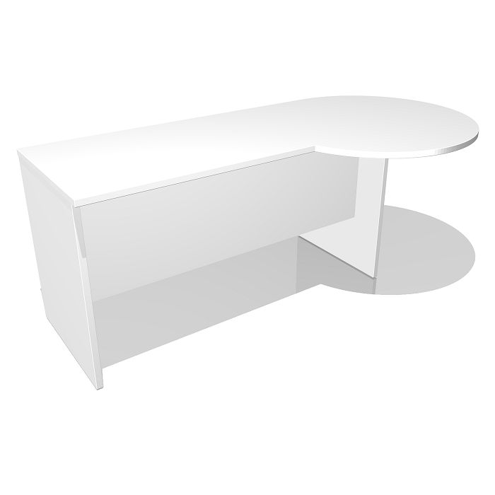 Just Bulb End Desk.  The Just Office Desk with a Bulb End features a 900mm circular bulb at the end of the desk. The curve of the bulb can face either into the desk area or into the open area. Our Just corporate office desk offers a range of sizes, colours and configurations for any office.