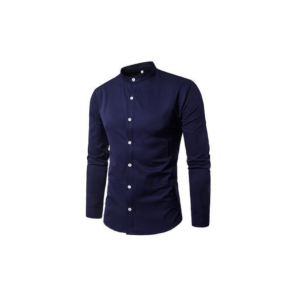 Slim Fit Stand Collar Long Sleeve Button Up Bussiness Designer Dress... ($21) ❤ liked on Polyvore featuring men's fashion, men's clothing, men's shirts, men's dress shirts, men shirts, navy, mens navy blue dress shirt, mens cotton dress shirts, mens banded collar dress shirts and mens long sleeve button down shirts