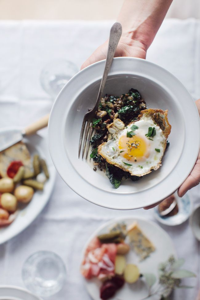 """Lentils with mushrooms, kale and eggs from Ashley Rodriguez's """"Date Night In"""" 