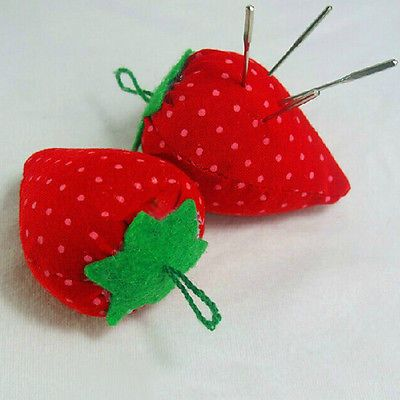 Cute-Lovely-Strawberry-Sewing-Craft-Pin-Needle-Cushion-Pillow-Kit-Embroidered