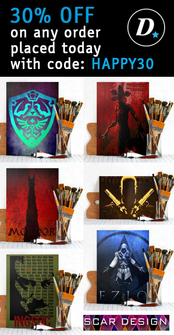 Get 30% OFF on any order placed today with code: HAPPY30. #discount #sales #movieposters #gamingposters #save #gifts #hitmanposter #displate #assassinscreedposter #mordorposter #1984poster #zeldaposter #strangerthingsposter #gamer #gaming #homedecor