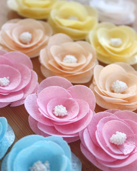 12 EDIBLE waferpaper flower toppers perfect for weddings,birthdays, cakes, cookies, sweets