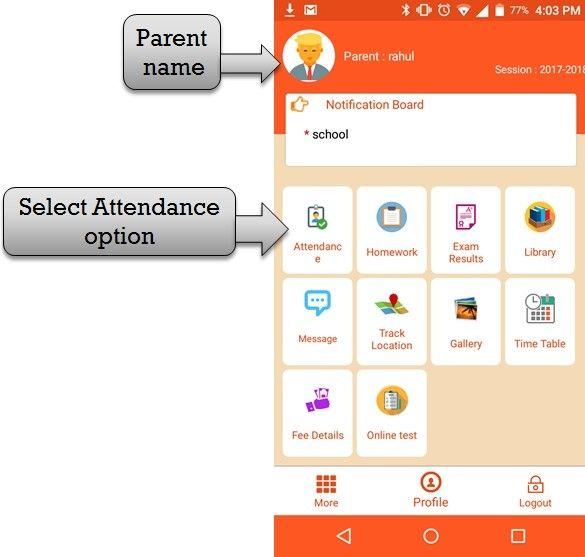 ZeroERP School Management App Software – Parent Attendance