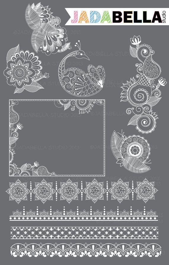 Instant Download Set of 10 Henna Elements by jadabellastudio