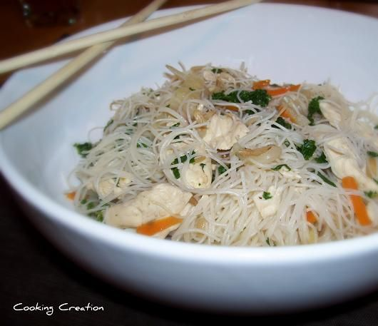 Cooking Creation: Chicken Chow Mei Fun - use Bragg's instead of soy sauce