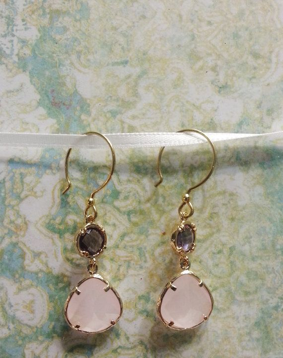 Beautiful Ice pink and purple gold plated earrings