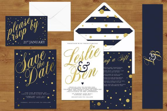 Wedding stationery set with a stylish navy, white and gold theme.  With a mix of classic script, stripes and gold dots, this set would suit any couple looking for a sophisticated design to set the tone for their guests on the big day.  **Please note: The printed price given in this listing is a sample quote based on 50 of each of the available cards (save the date, invitation, details and RSVP).   ✿❀✿ THE PROCESS ✿❀✿  1. Use the request a custom order option above to get in touch if you…