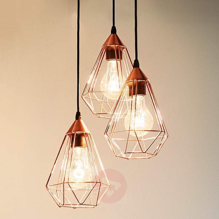 Glossy Copper Hanging Light Tarbes 3 Bulb Copper Hanging