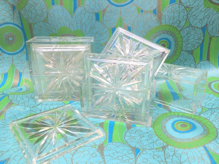 Atomic Acrylic Coaster Set Vintage Mid-century 2 sets of 4 by vintagefrombutterfly on Etsy
