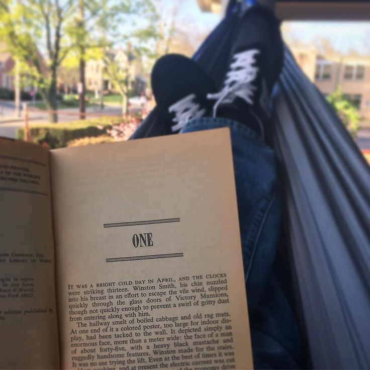 """""""It was a bright cold day in April..."""" and it seemed like a good day to start reading 1984.  #1984 #April #Akron #Spring #Reading #Hammock"""