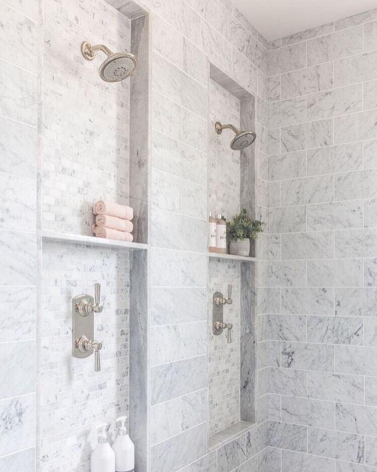 Dual Shower Heads Bathroom Remodel Master Shower Niche Master