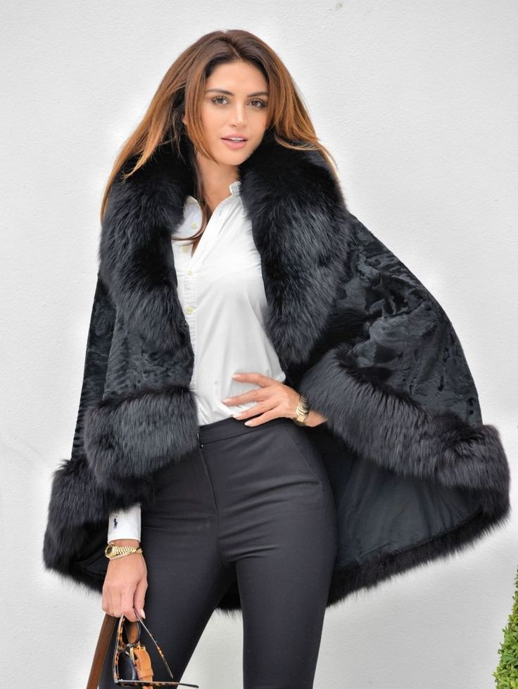 2017 NEW BREITSCHWANZ FOX FUR PONCHO CAPE CLAS SABLE MINK CHINCHILLA COAT JACKET