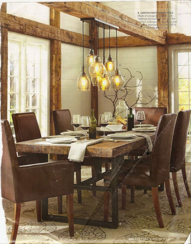 Pottery barn dining room with rustic glass pendant lights for Dining room 3 pendant lights