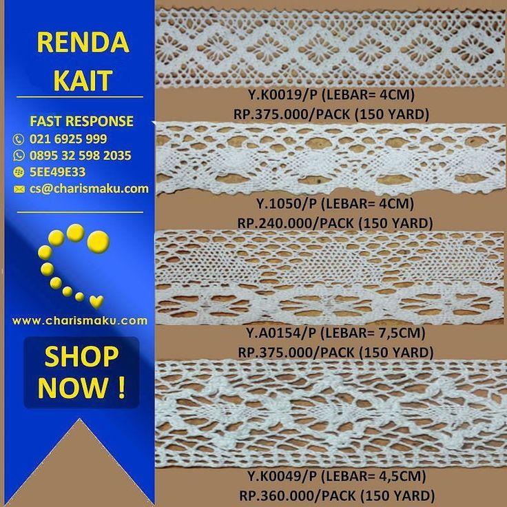 Renda kait (Crochet Lace) tersedia dengan berbagai model motif warna dan ukuran. Dapat diaplikasikan pada gamis kerudung dan juga dapat dijadikan kebutuhan craft anda Pembelian minimal 1 pack (15yard) Contact person Telp: (021) 6925 999 Whatsapp: 0895 3259 8 2035 BBM: 5EE49E33  #renda #rendakait #lace #crochetlace #gamis #hijab #fashion #fashionstyle #fashionmodern #fashiondesign #fashionindustry #onlineshopping #charismaku by charismaku_id