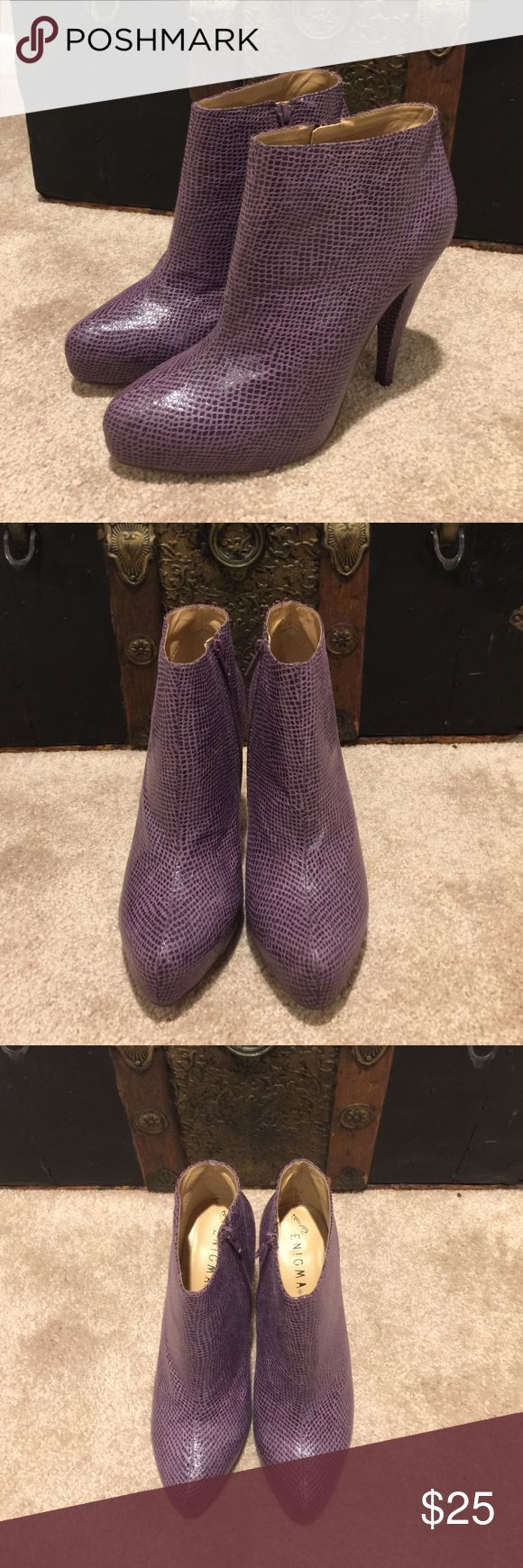 🎉Reduced for today only🎉Enigma Ankle Boots Enigma Purple Ankle Boots are in excellent condition.  Material is leather Size 10 Enigma Shoes Ankle Boots & Booties