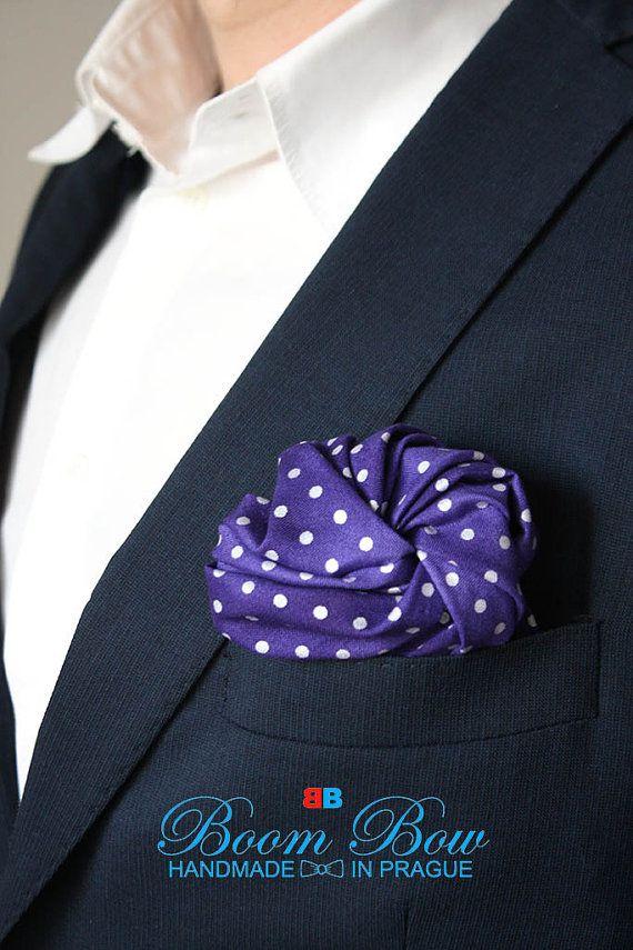 "Pocket Square 16"" Cotton violet purpure polka dot handkerchief 16""x16"" Free Shipping"