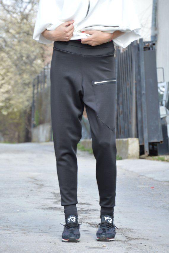 a1538ca0247 Black Neoprene Drop Crotch Harem Pants