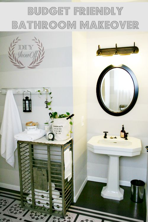 Bathroom before and after makeover reveal shades of gray painting horizontal stripes