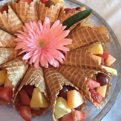 Waffle Cone Fruit Salad - add some whipped cream on top ...