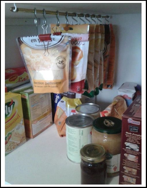 E.C.B.  hang packages in pantry.