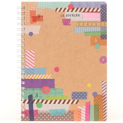 beige Washi Tape scrapbook ring binder notebook from Japan 1