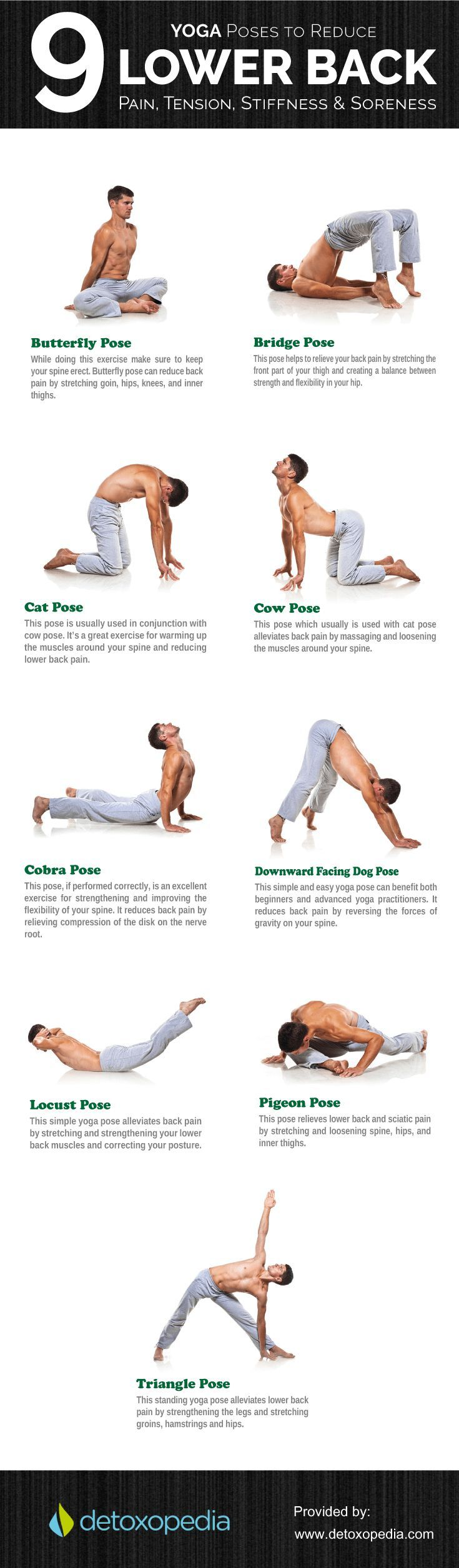 [Infographic] 6 Yoga Poses for Lower Back Pain http://healthyquickly.com 1 Yoga Tip For a Tiny Belly...