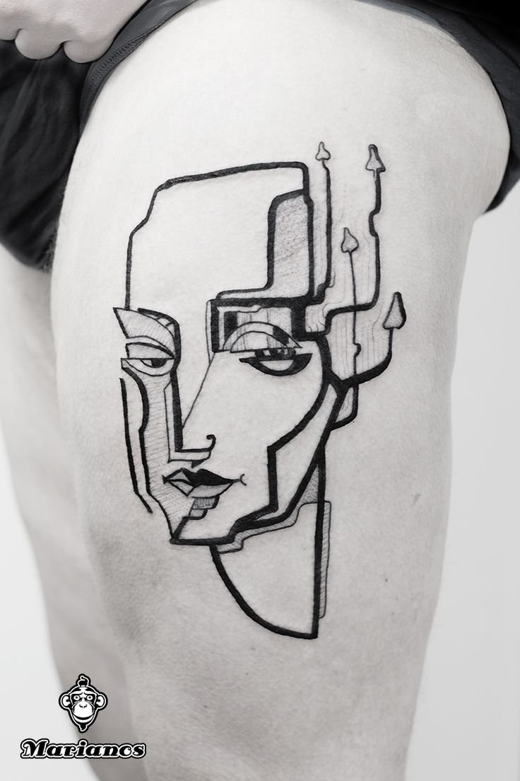 Abstract one ,with mushrooms   #tattoo #abstract #portrait #mashrooms #moder