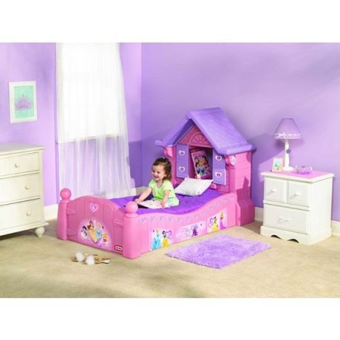 Disney Princess toddler bed! ;;could easily build one for boys as a knights castle or treehouse look;;