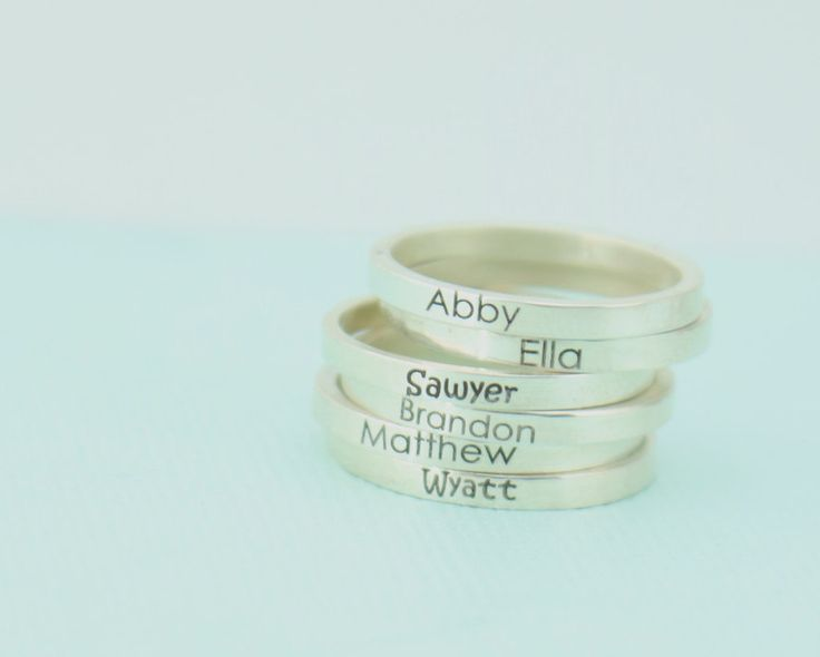 Custom Name Rings - Personalized Stacking Ring -  Silver Engraved Ring - Silver Posey Ring - Birthday Gift by emilyjdesign on Etsy https://www.etsy.com/listing/268996914/custom-name-rings-personalized-stacking