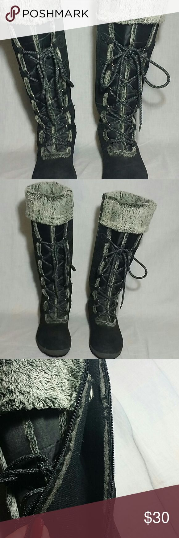 """KHOMBU Boots Shoes Black Size 7 M TALL Leather Women's boots Shoes Tall 16"""" Calf 7"""" Leather upper faux fur lining, lace ups item is good condition. Khombu Shoes Winter & Rain Boots"""
