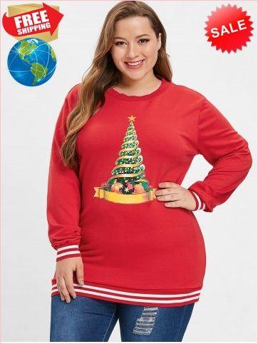 f86a0f465f1d2 Christmas Tree Varsity Striped Sweatshirt