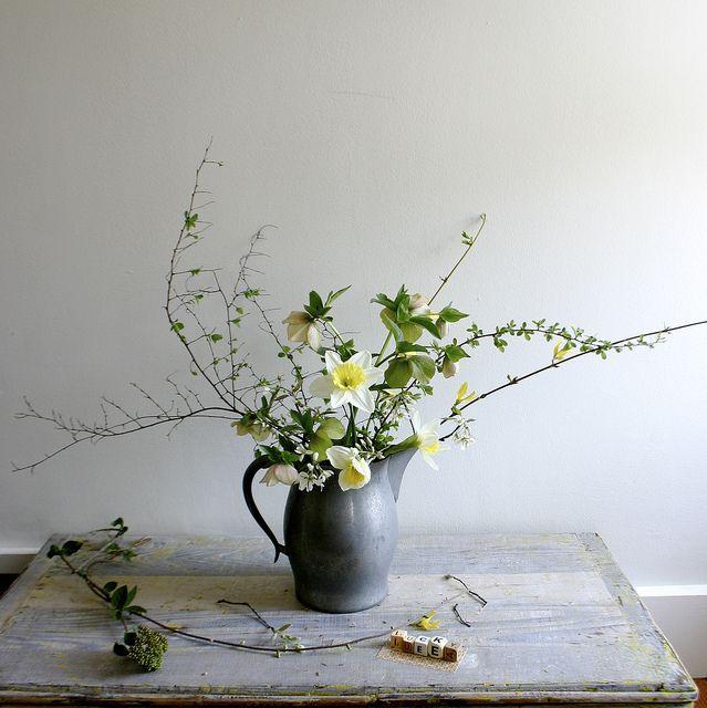 april flowers:  narcissus + hellebore orientalis + amelanchier canadensis + forsythia + spirea branch.