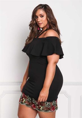 Plus Size Clothing | Plus Size Layered Tulle Embroidered Bodycon Dress | Debshops