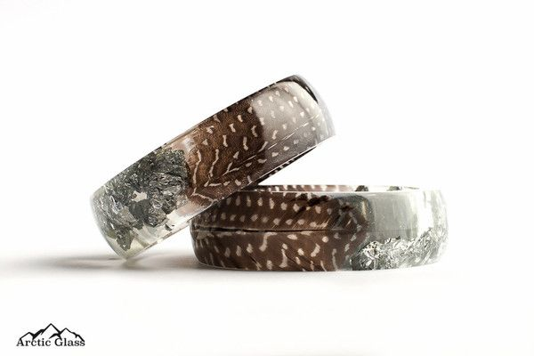 Guinea Fowl Feather with Silver Round Bangle - Arctic Glass - 9