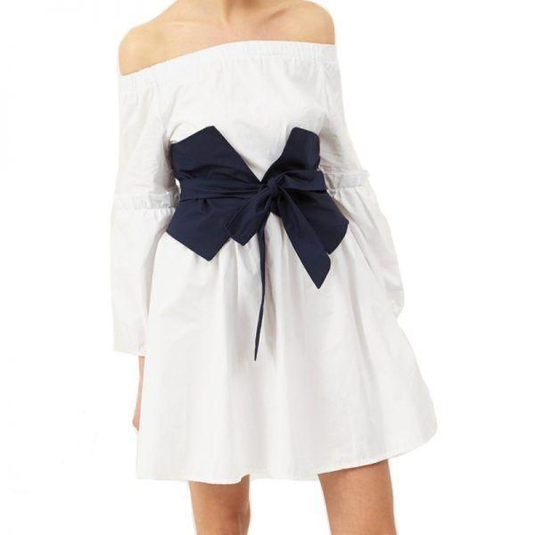 Storets - If you like:Statement waists, sleeves and hemsStorets Tela Tie Waist Off-The-Shoulder Dress, $67