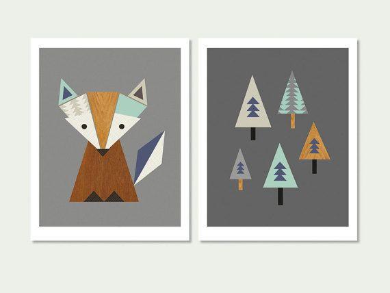 Little Fox vivero, zorro en el bosque serie de lámina (Aqua y Marina de guerra) Los niños, sala de arte, escandinavo, arte moderno vivero, vivero de Fox.