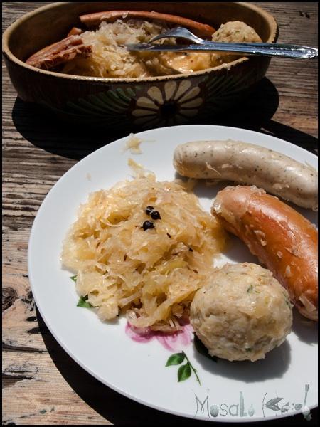 Semmelknödel, Sauerkraut and Sausage - Central European feast by @Helene Dsouza and MasalaHerb.com