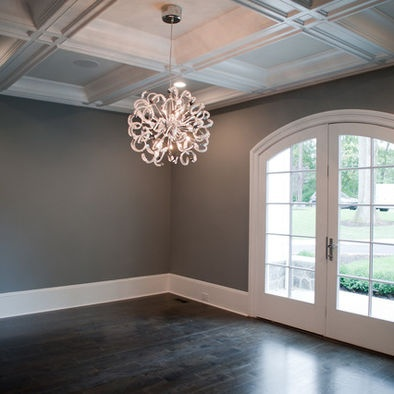 Dining room by Michelle Winick Design/MM Design Build NJ: Gray Wall Color, Rich Color, Modern Chandeliers, Red Oak Floors, Rooms Wall, Majest Sky, Pot Lighting, Contemporary Dining Rooms, Dark Gray Wall
