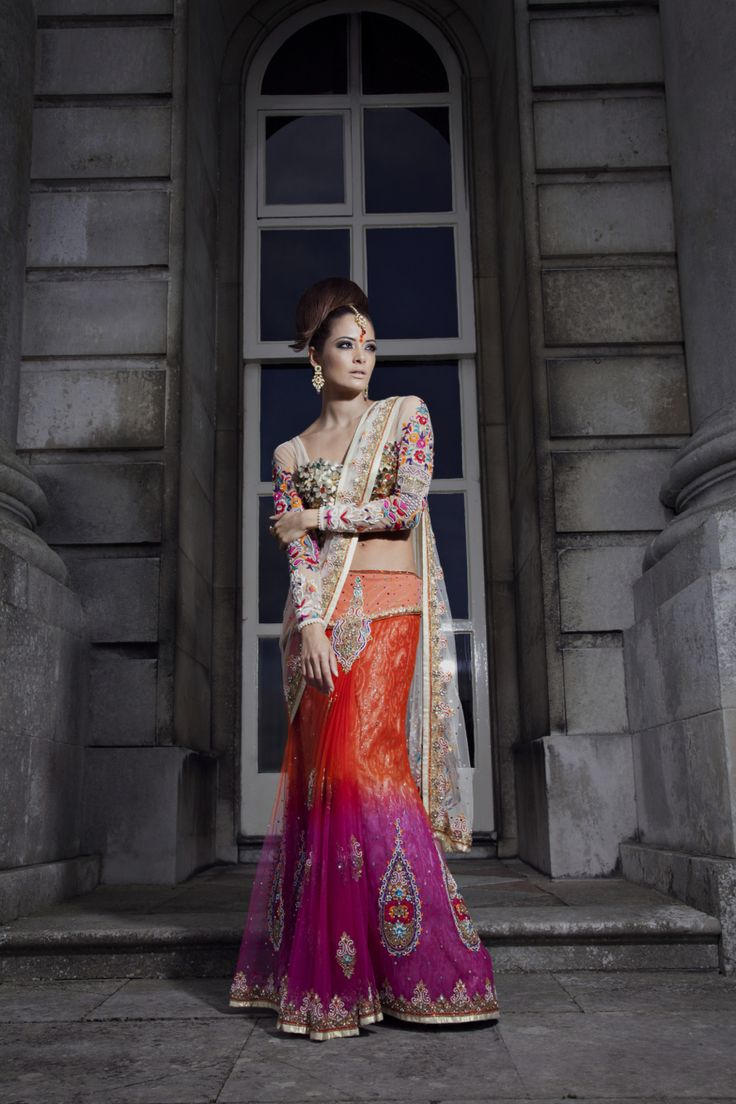 Concept tulle saree with bespoke blouse designed with metal jewels on bodice and Kashmiri embroidery sleeves