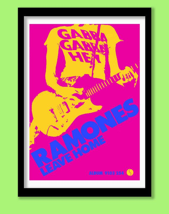 Large colour reproduction promo poster for The Ramones second album first released in 1977.   The print features the bands famous Gabba Gabba Hey slogan and is printed in bright blue, pink and yellow  The Ramones Blitzkeig Bop promo poster is also available The poster has been professionally printed on thick quality 210gsm paper , coated with a subtle matt UV protective laminate. The print is sized at A2 (approx 40x60cm / 16.5 x 24 inches ) and is suitable for framing . The poster will f...