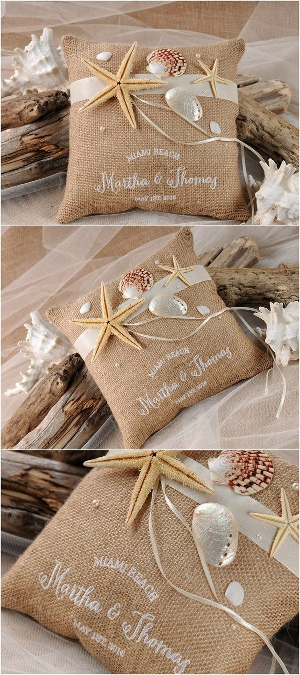 Rustic country burlap beach wedding ring pillow @4LOVEPolkaDots
